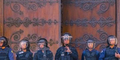 Police Protecting Building, Montevideo, Uruguay