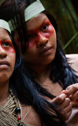 Indigenous Waorani girls in the Amazon Rainforest.
