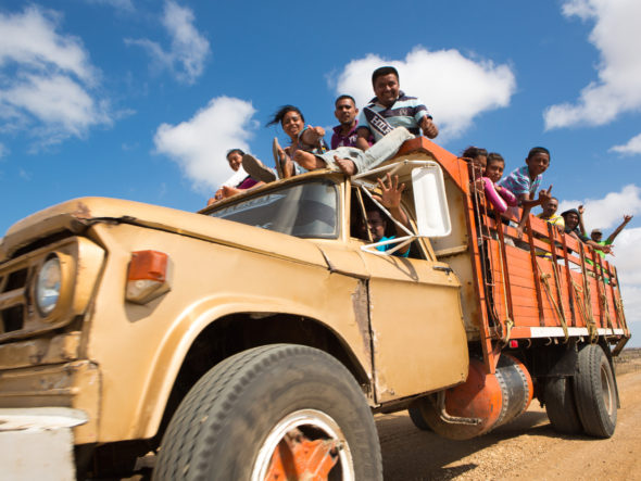 Wayuu indigenous people travelling in La Guajira, Colombia.