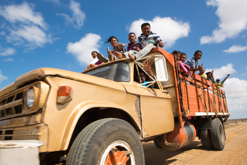 Wayuu indigenous people travelling in La Guajira, Colombia.