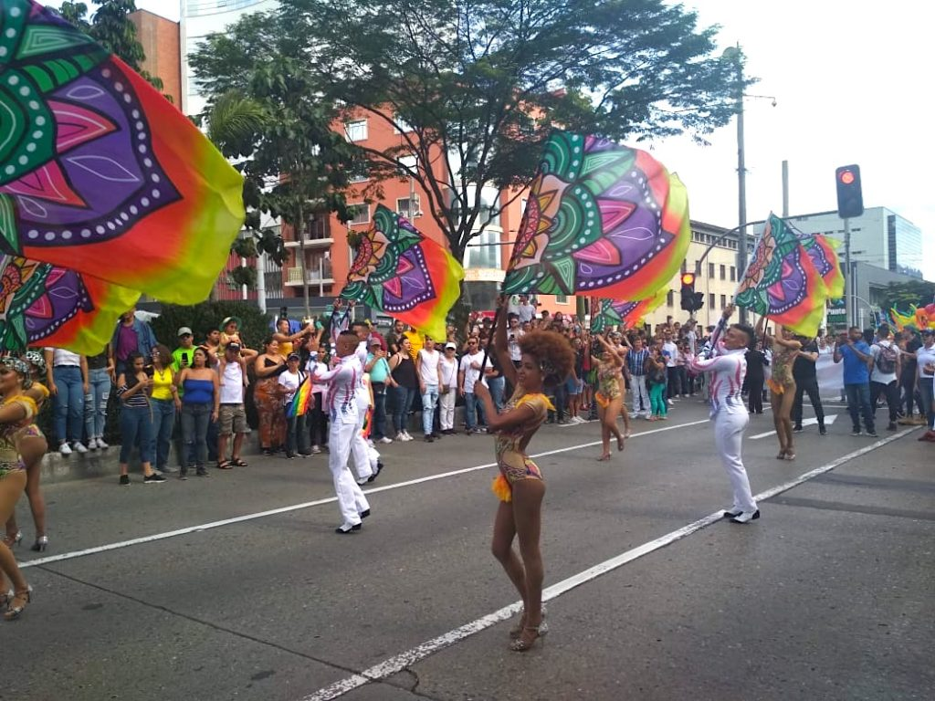 Medellin Gay Pride Parade Flag Dancers