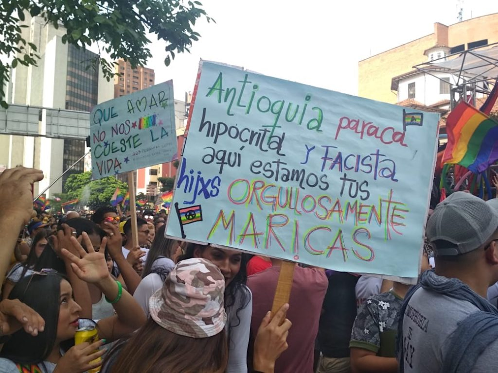 Medellin Gay Pride Parade Signs