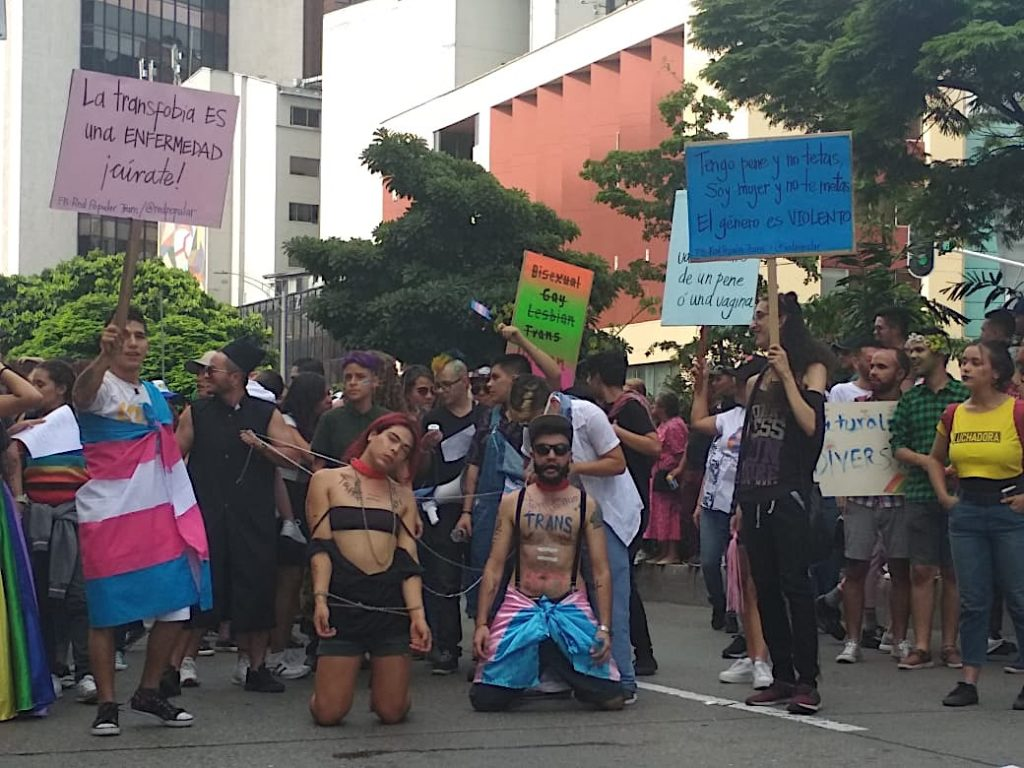 Transsexual  people protest Medellin Gay Pride