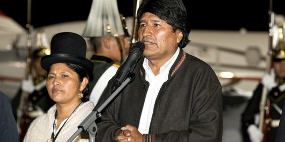 Evo Morales giving a speech
