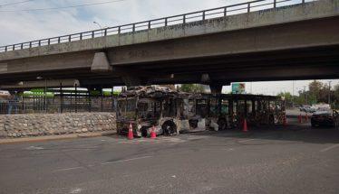 Bus burnt Santiago de Chile
